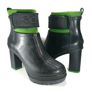 Sorel Rubber Rain Boot Bootie Heeled Green 8
